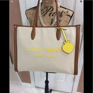 Kate Spade Natural Market Canvas Large Tote